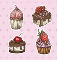 hand drawn cakes vintage colorful food sketches vector image