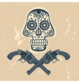Hand drawn skull with guns on a grungy background vector image