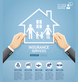 hand holding a paper family in house vector image vector image