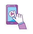 hand user smartphone with media player isolated vector image