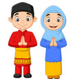 happy muslim kids cartoon on white background vector image vector image