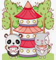 japan food and animals kawaii vector image vector image