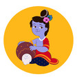 little balord krishna plays on flute vector image vector image