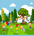 many children playing games in park vector image vector image