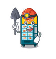 miner bakery vending machine in a mascot vector image vector image