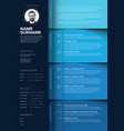 minimalist blue resume cv template vector image vector image