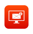 monitor screen with email sign icon digital red vector image vector image