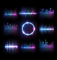 music equalizers audio or radio waves set vector image vector image