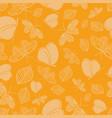 orange leaves and butterflies pattern vector image