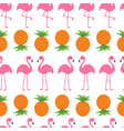 pineapple pink flamingo icon set seamless pattern vector image