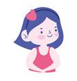 portrait little girl cartoon character isolated vector image vector image