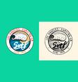 sea wave emblem surfing sign summer surf blue vector image