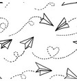seamless pattern paper airplanes on white vector image