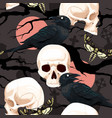 seamless pattern with raven and human skull vector image vector image
