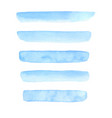 set hand painted blue watercolor brush stroke vector image vector image