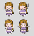 set woman emoji faces emotion message vector image