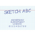 sketch bold font and alphabet hand drawn vector image vector image