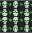 skull and marijuana seamless pattern graphics vector image