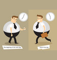 the end and the beginning of the working day vector image vector image