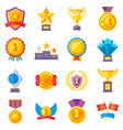 trophy medals and winning ribbon success icons vector image