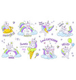 unicorn cats cute doodle characters with kawaii vector image vector image