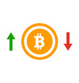 up and down arrows bitcoin course flat icon vector image vector image