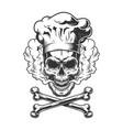 vintage monochrome skull wearing chef hat vector image vector image