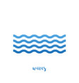 waves water icon in line on a white background vector image