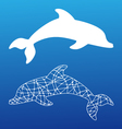 white silhouettes of dolphin vector image vector image