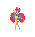 young woman in bright festival costume dancing vector image vector image