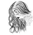 Zentangle portrait of girl face in profile vector image vector image