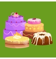 cake icon set Birthday food sweet dessert vector image