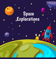 background with cartoon space planets vector image