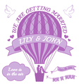 ballohot air balloon wedding invitation vector image