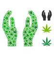 care hands mosaic of cannabis vector image vector image