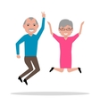 cartoon jumping from happiness elderly vector image vector image