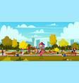 cartoon playground in park with people vector image vector image