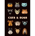 Cats and dogs icon set format vector image vector image