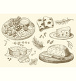 cheese collection hand drawn engraved graphic vector image vector image