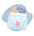 christmas letter coming out white envelope with vector image