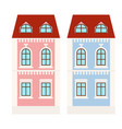 city houses small colored buildings vector image