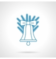 Classic Christmas bell thin blue line icon vector image vector image