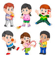 collection of the children holding their snack vector image vector image