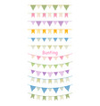 colorful bunting and garland set isolated on white vector image vector image