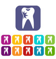 cracked tooth icons set vector image vector image