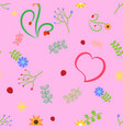 cute pattern pink vector image vector image