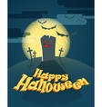 Dark cemetery in a full moon Happy Halloween vector image