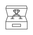 diamond ring in box jewelry related outline icon vector image