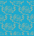 elegant gold rose pattern on blue background vector image vector image