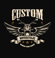 emblem template with winged motorcycle design vector image vector image